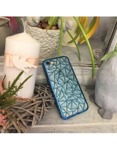 iPhone 5/S/SE LUXURY TRANSPARENT TRIANGLES BLUE