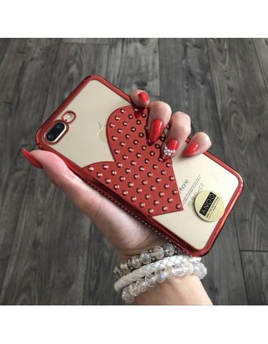 BIG HEART SWAROVSKI CRISTALS RED