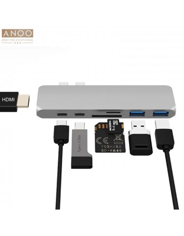 ANOO PRO HUB USB-C 7 PORT for MacBook Silver