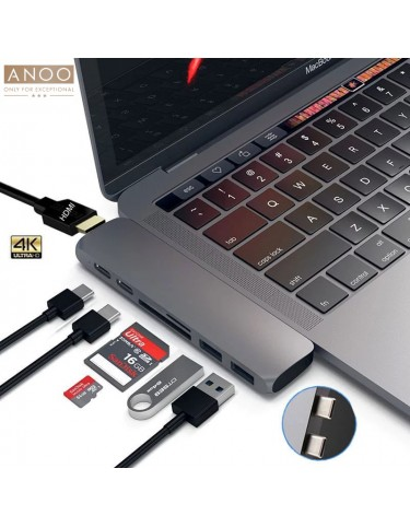 ANOO PRO HUB USB-C 7 PORT for MacBook Space Grey