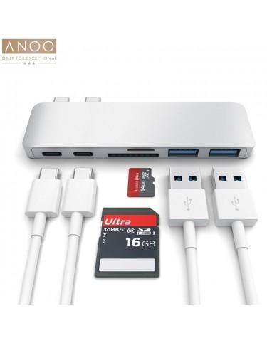 ANOO PRO HUB USB-C 6 PORT for MacBook Silver