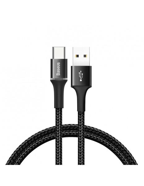 Baseus Halo Data Cable wytrzymały nylonowy kabel przewód USB / USB-C z diodą LED 3A 0,5M czarny (CATGH-A01)
