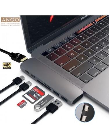 ANOO PRO HUB USB-C 7 PORT for MacBook Space Grey