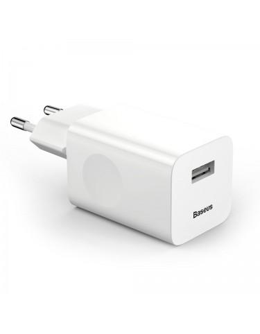 Baseus Charging Quick Charger ładowarka sieciowa zasilacz EU adapter USB Quick Charge 3.0 QC 3.0 biały (CCALL-BX02)